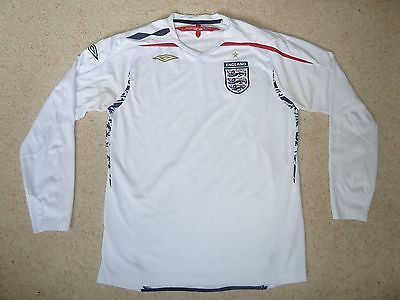 England #white home football shirt adult l #large 2007-2009 long #sleeved by umbr,  View more on the LINK: http://www.zeppy.io/product/gb/2/232084710504/