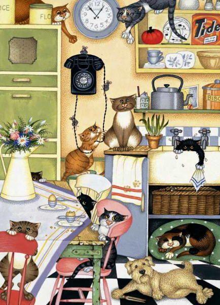 Many cats paintings. Linda Jane Smith - Larder Louts.