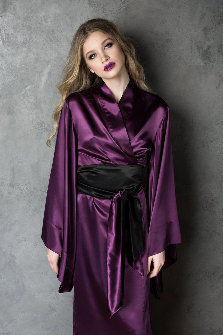 Classic Floor Length Silk Kimono in Purple #kimonokollection #lingerielove #silk #silkrobe