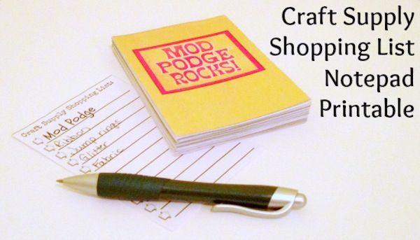 FREE Printable: Craft Supply Shopping List