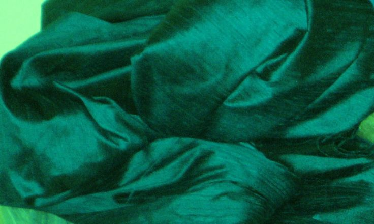 PEACOCK TEAL GREEN 100% DUPIONI SILK FABRIC YARDAGE By the Yard Quilt Sew Drapes