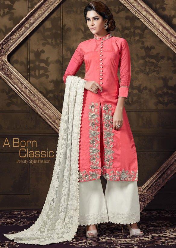 0143d643d8 Captivating Coral Pink Palazzo Suit   Palazzo Suits   Latest salwar suit  designs, Salwar suits, Palazzo suit