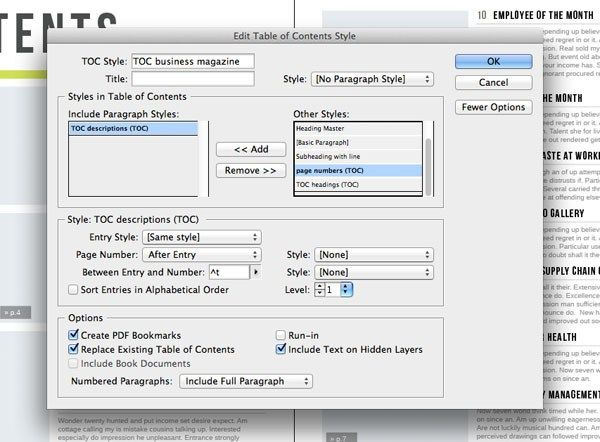 how to create a table of contents in indesign