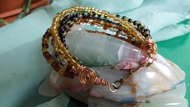 Bracelet--multistrand--seed beads, copper wire