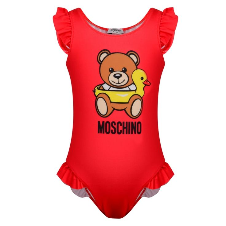 Moschino Baby Girls Passion Fruit Pink Bathing Suit with Teddy Bear Print and Frill Detailing