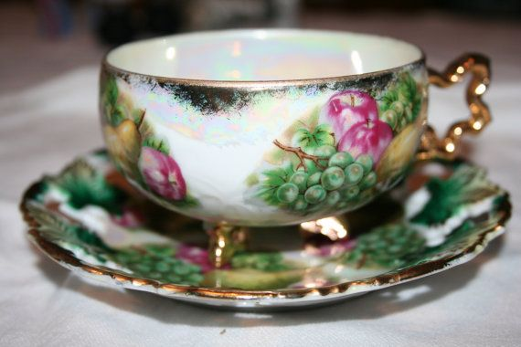 Royal Sealy China Japan 3 Footed Fruit Pierced Edge Tea Cup and Saucer