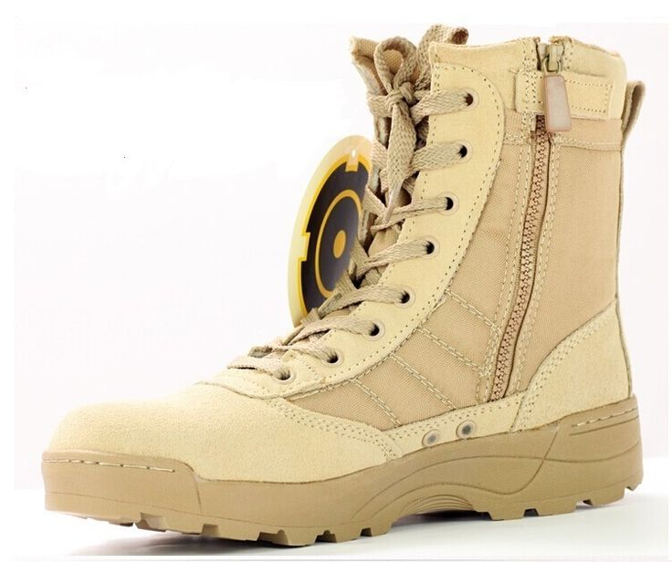 Beige desert military boots.