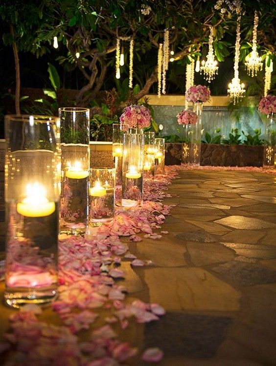 Candlelight nighttime wedding ceremony / http://www.deerpearlflowers.com/romantic-wedding-lightning-ideas/