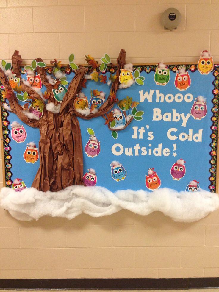 Winter owl theme bulletin board