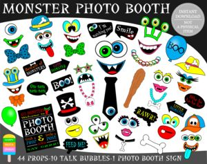 Printable Monster Photo Booth Props/ Monster Bash Props