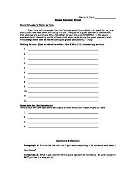 "Hi Folks,Did you ever need a sheet to keep the students focused during a guest speaker's visit?  After ""years of painstaking research"" I offer you this...the Guest Speaker Sheet.  This document is a combination of a note sheet and a critical writing assignment.Not only useful to keep students on task during a visit but also a very useful after the visit as the basis of a discussion.Enjoy!"