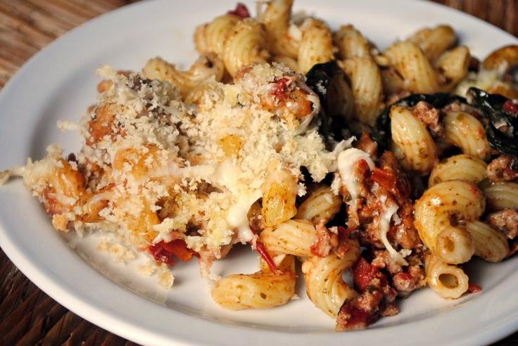 bake ground turkey pesto spinach asiago cheese fire roasted tomato ...