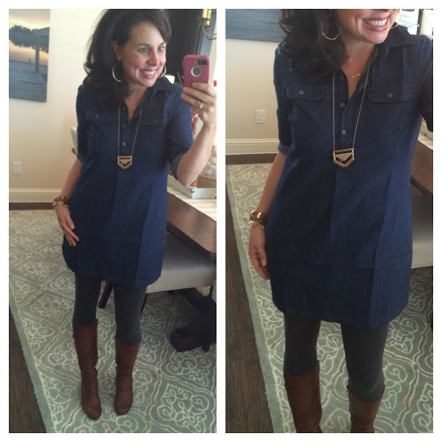 Let's Talk TUNICS!  Chambray dress with leggings.