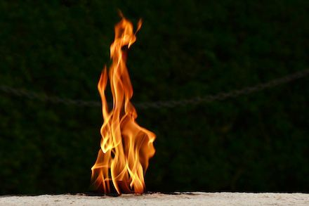 The Eternal Flame at John F. Kennedy's Grave in Arlington Cemetery