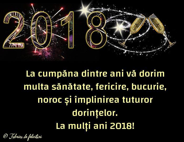 La cumpăna dintre ani vă dorim multa sănătate, fericire, bucurie, noroc și împlinirea tuturor dorințelor.
