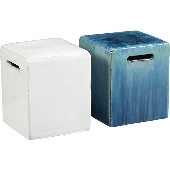 Carilo Blue Garden Stool Crate And Barrel Gardens