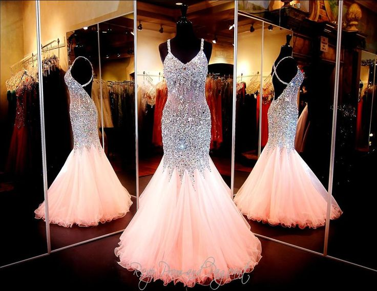 2015 Coral Mermaid Prom Dress With Sexy Sweetheart Neckline Open Back Mermaid Pageant Gown Sparkling Crystal Beads Tulle Dress Party Evening Online with $205.24/Piece on Olesa's Store | DHgate.com