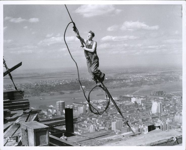 """The always breathtaking image of a worker during construction of the Empire State Building: """"Icarus, high up on Empire State"""" (1931)"""