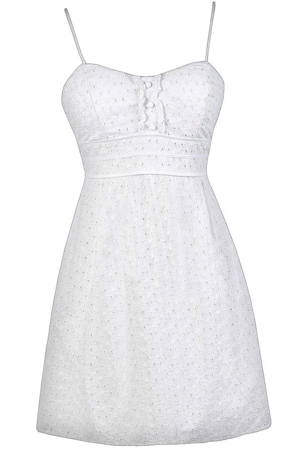 This adorable A-line eyelet dress is the perfect little white sundress to wear for so many occasions. It would make a cute graduation day dress or just a crisp white dress to wear during the summer. This would also be a cute rehearsal dinner dress or bridal shower dress. The Happy Graduation Day White Eyelet Sundress is fully lined. It is made of 100% cotton fabric with eyelet cutouts all over it. This dress has a sweetheart neckline, lightly padded bust, and adjustable spaghetti straps. A…