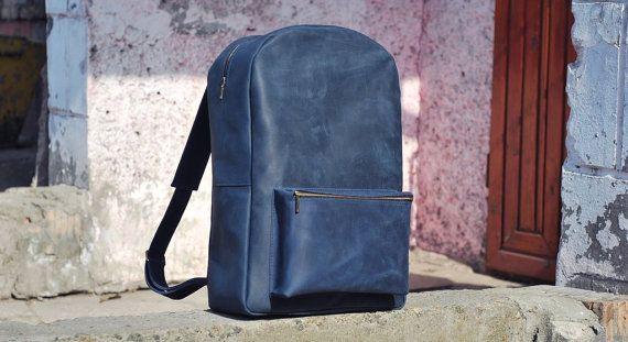 Genuine leather backpack, blue backpack, backpack for men, model P008. 100% hand-made