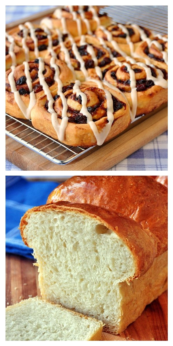 A perfect weekend baking idea This white bread recipe will make one large loaf plus a batch of crispy, chewy, Old Fashioned Cinnamon Rolls.