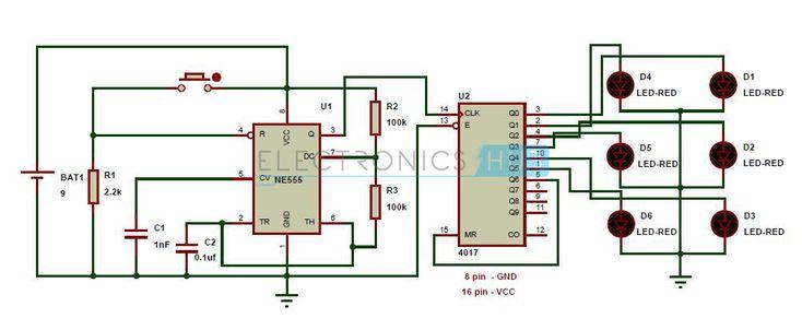 Circuit Diagram of Unbiased Digital Dice with LEDs