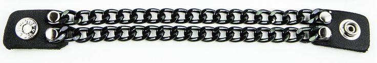 2 row Black Chain Extension Black Leather Biker Vest Extender  #Punkaddict