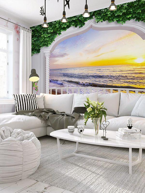 Sumgar Self Adhesive 3d Wallpaper Sunrise Seascape Ocean Large Wall Mural Arches Paradise Beach Home Decor 100x144 I Large Wall Murals Wall Murals 3d Wallpaper