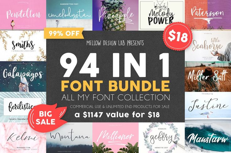 94 in 1 Font Bundle Sale from Mellow Design Lab on Creative Market. Includes all of their fonts, a $1147 value, for just $18. Bundle ends on December 1, 2017. Commercial use, logo design, websites, e-books, online publications, phrase for sale, application design, and products for sale are allowed with purchase.