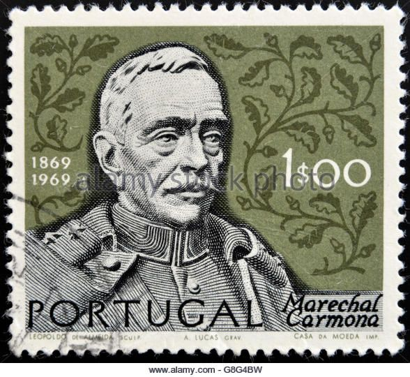 PORTUGAL - CIRCA 1969: A stamp printed in Portugal shows Oscar Carmona, circa 1969 - Stock Image