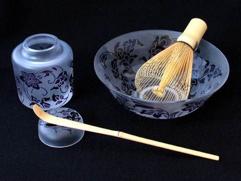 茶道具セット(天平文様) - サンドブラスト 作品例