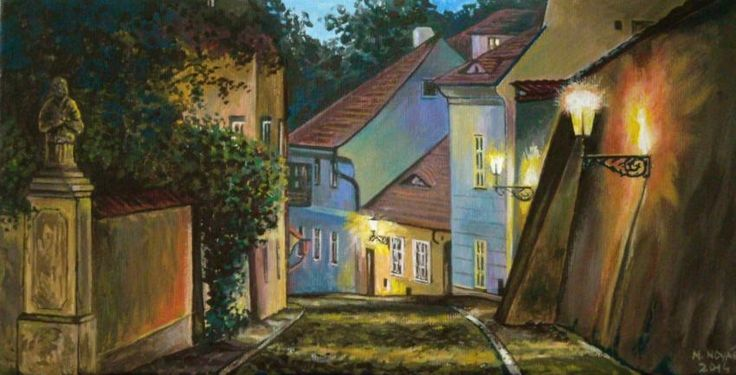 """Černínská ulička, Praha"" - malba na plátně a desce 32 x 17 cm - akryl / olej."