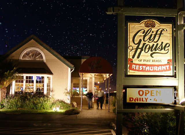 Fort Bragg, California. The Cliff House Restaurant. Perfect menu, perfect setting, lovely view of the Pacific & magnificent at sunset.