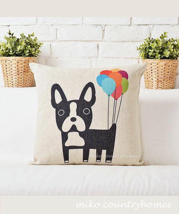 Boston Terrier with Balloons Throw Pillow Cushion Cover Boston terriers, Pillow covers and ...