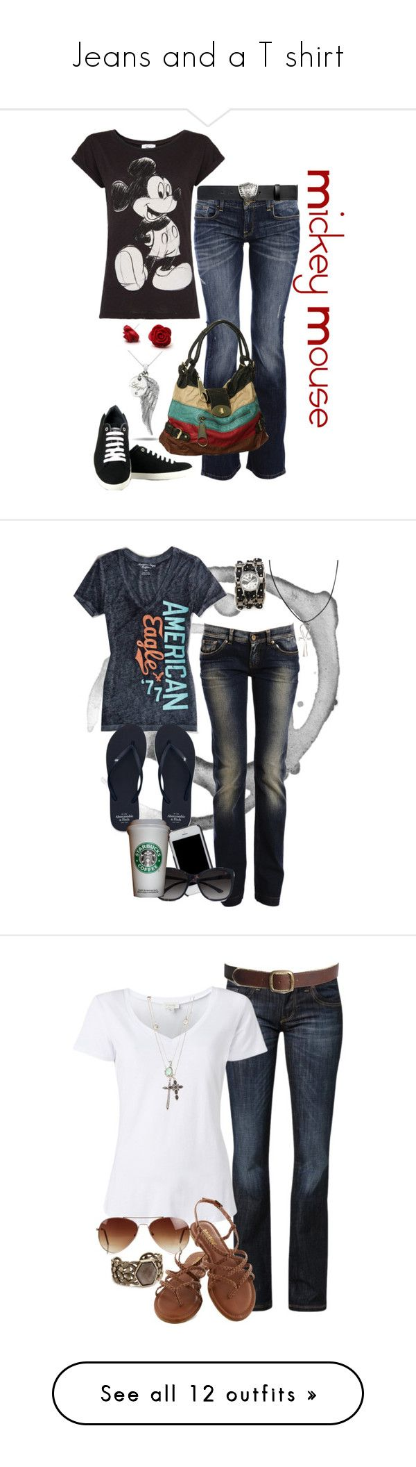 """""""Jeans and a T shirt"""" by sherri-leger ❤ liked on Polyvore featuring Vegetarian Shoes, Carlos Miele, Gucci, MANGO, Dolce&Gabbana, American Eagle Outfitters, Abercrombie & Fitch, Tory Burch, GUESS by Marciano and River Island"""
