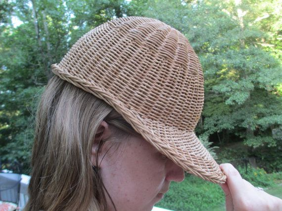 hat, unique hat, wicker hat, wicker, brown hat, polo hat, polo, light hat, sun hat, braded hat, crazy hat, unique accessory, accessory