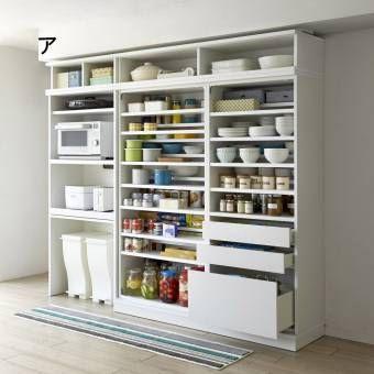 キッチンをリフォーム気分で収納力アップできる収納庫。限られた空間で効率よく収納する工夫と、開閉スペース不要な引き戸式。憧れのパントリーをキッチン収納家具で実現して。食器までひとまとめにすっきり収納。