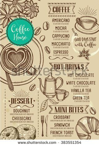 Coffee restaurant brochure vector, coffee shop menu design. Vector cafe template with hand-drawn graphic. Coffee flyer. #coffeeart