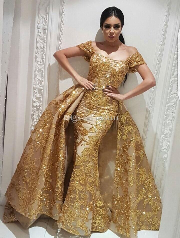 Yousef Aljasmi Evening Wear Dresses Mermaid Prom Dress with Gold Sequins Lace  Detachable Overskirt Train Sparkly Dubai Arabic Occasion Gowns 04ca12f2f