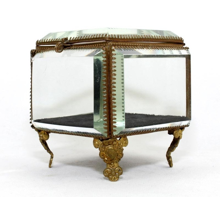 ANTIQUE ORMOLU BEVELED GLASS JEWELERY BOX CASKET