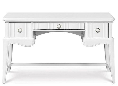 This Gabrielle kids' vanity desk is perfectly posh and packed with boutique style to help you create a beautiful kids' room. The snow white finish, along with crystal-look and pewter hardware, provides an elegant aesthetic that's truly transitional.