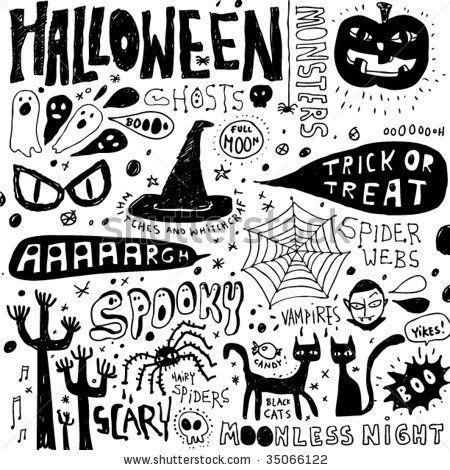 Halloween doodles elements by Elise Gravel , via ShutterStock