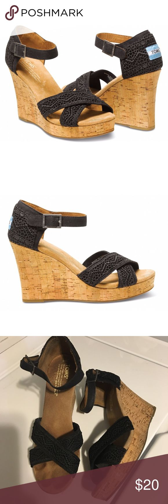 """TOMS Black Crochet Strappy Wedges Open for reasonable offer. The item that you are about to purchase is a TOMS Black Crochet Strappy Wedge. Size 8. Shows wear (pls refer pictures) but over all, the shoes itself is in a great shape. To make an offer, please use """"offer"""" Button. Thank you! TOMS Shoes Wedges"""