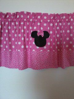 Minnie Mouse Pretty in Pink Curtain Valance. $30.00, via Etsy.