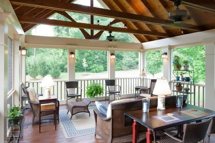 Beams With Vaulted Ceiling Screened Porch Ideas Pinterest