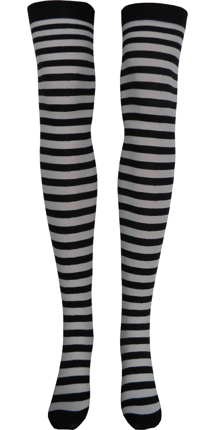 Stripe Opaque Thigh High in Black and White