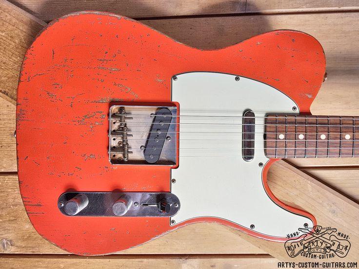 Fiesta Red fiestared Telecaster heavy relic Artys Custom Guitars Shop Tele Relicing Swamp Ash swampash Alder Nitro Finish nitrofinish aged  Roadworn Arty's