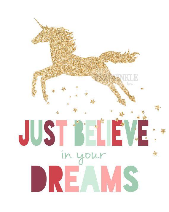 Unicorn Print-Unicorn Printable-Just Believe in by periwinkleinc