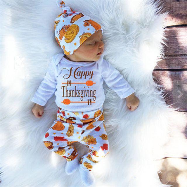 Children Thanksgiving Clohtes New born Bodysuit Baby Boy T shirt 3 pcs Suit Girl Outfits Pants Clothes Costume
