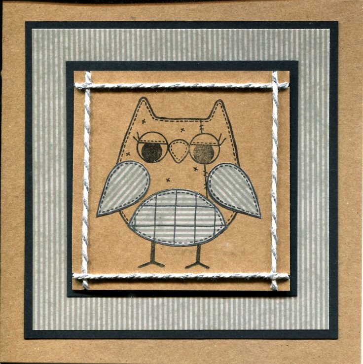 Handmade Card. Using Woodware owl stamp. Male or female.